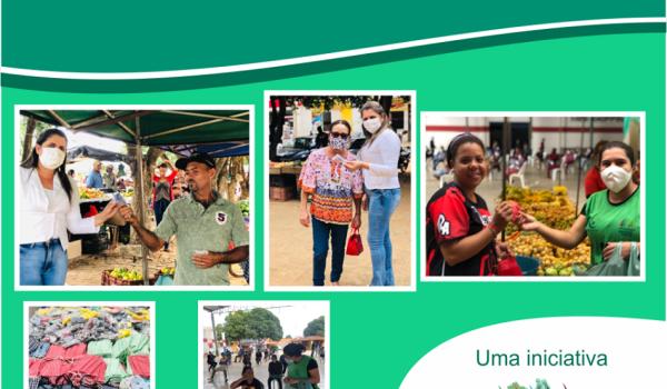 Imagens da COVID - 19 - Secretaria de Saúde entrega máscaras aos comerciantes da feira livre.