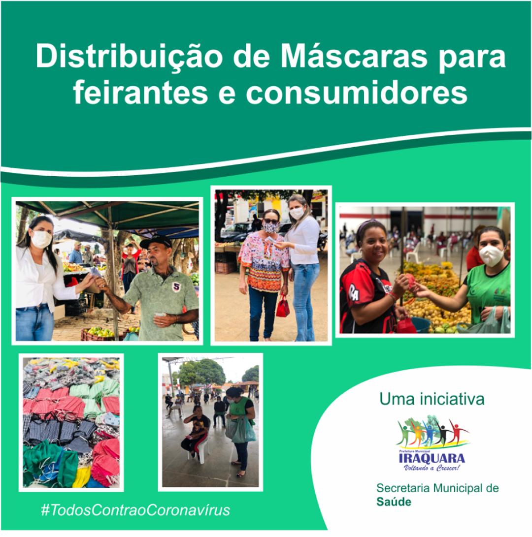 COVID - 19 - Secretaria de Saúde entrega máscaras aos comerciantes da feira livre.