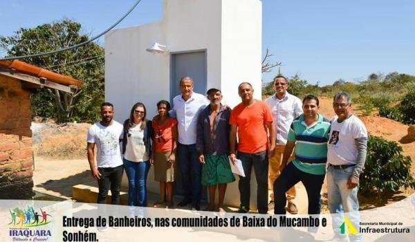 ENTREGA DE BANHEIROS NAS COMUNIDADES DE BAIXA DO MUCAMBO E SONHEM.