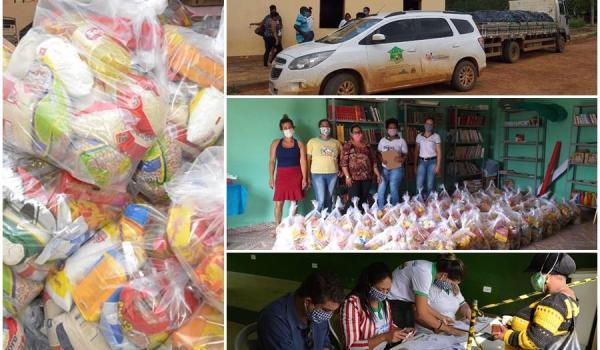 Famílias em situação de vulnerabilidade recebem cestas básicas na Sede e outras Localidades.